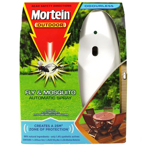 Mortein Outdoor Fly & Mosquitoes Automatic Spray System - Odourless 154G