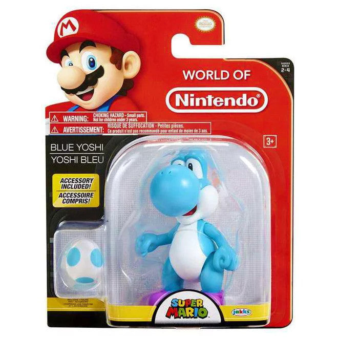 World Of Nintendo - Blue Yoshi with Egg Action Figure 4""