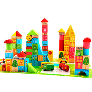 Municipal Transportation Wooden Building Blocks - 100pcs