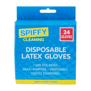 Spiffy Multipurpose Disposable Rubber Latex Gloves Lightly Powdered 24PK