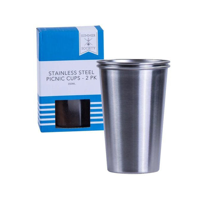 Eco Stainless Steel Picnic Cups - 350ml - 2 Pack