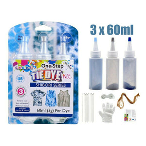 One Step 3 Color Tie Dye Kit - Sky Blue/Gray/Indigo - 45 Pack