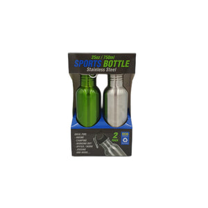 Stainless Steel Drink Bottle 750ml Twin Pack