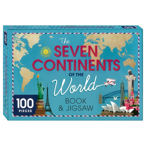 Seven Continents of the World Book and Jigsaw Puzzle
