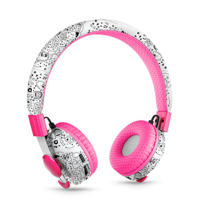 LilGadgets Untangled Pro Childrens Wireless Bluetooth Headphones - Far Out Doodles