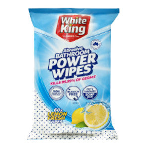 White King Bathroom Lemon Fresh Wipes 60ea