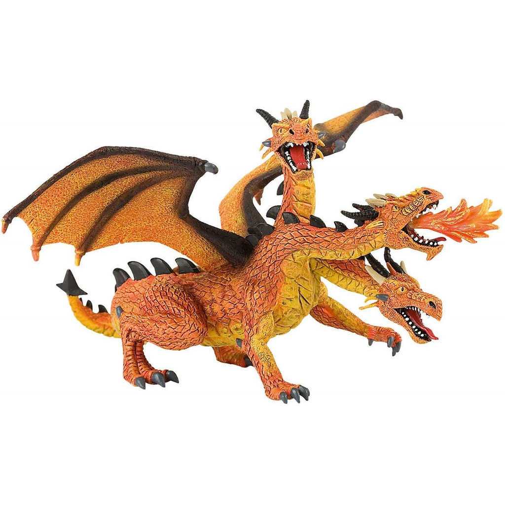Bullyland Orange Triple-Headed Dragon Figurine