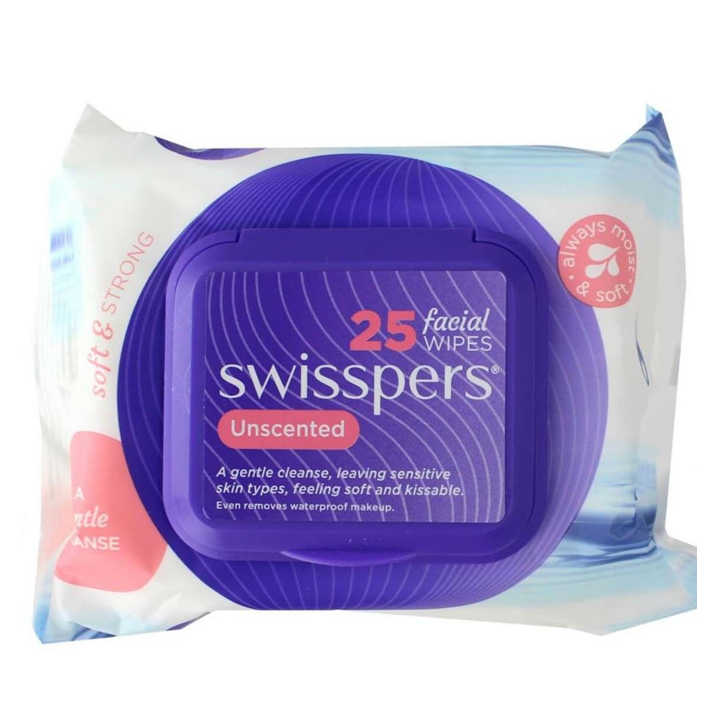 Swisspers Unscented Facial Cleansing Wipes (PK 25)