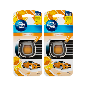 2 x Ambi Pur Car Air Freshener Light Citrus 2mL