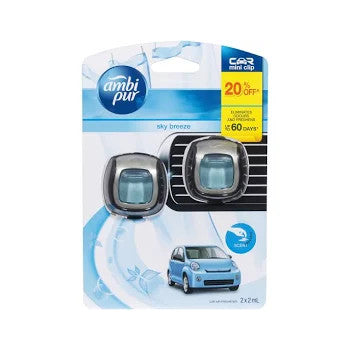 Ambi pur 2ml CAR AIR FRESHENER MINI CLIP SKY BREEZE 2 pack