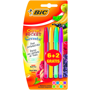 6 x BIC Cristal Pocket Scents Scented Pens (Value Pack of 6 + 2 Free) Smooth Sales