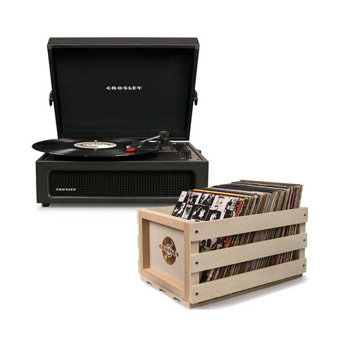 Crosley Voyager 3-Speed Portable Turntable + Free Record Storage Crate