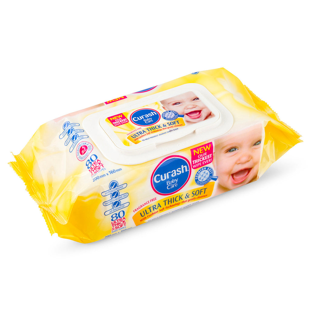 2 x Curash Baby Care Ultra Thick & Soft Wipes - 80 Pack