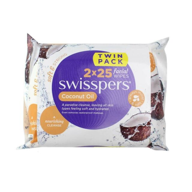 Swisspers Coconut Oil Facial Wipes (2 X 25 PK)