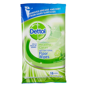 Dettol Anti-Bacterial Floor Wipes Lime & Mint Household Disinfectant 15pk