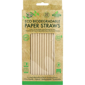 Eco Biodegradable Material  Drinking Straws - Brown Paper Straws 50PK