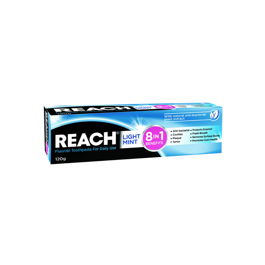 6 x Reach 8-IN-1 Light Mint Toothpaste 120g