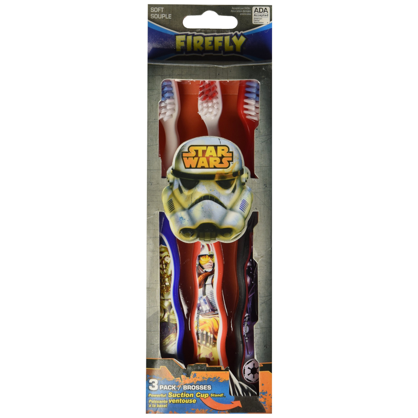 Firefly Star Wars 3 Pack Soft Suction Cup Stand Toothbrushes