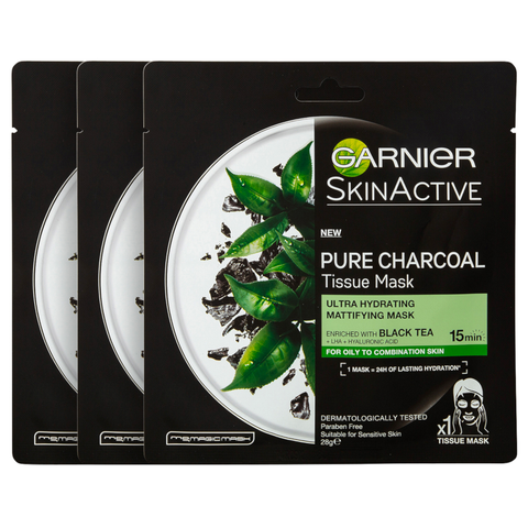3 x Garnier SkinActive Pure Charcoal Tissue Mask 28g