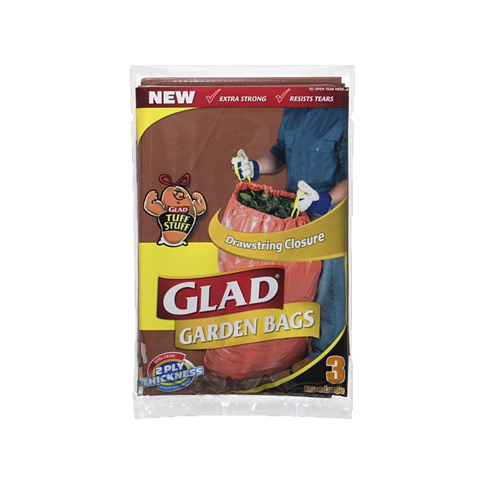 2 x Glad Drawstring Closure Garden Bags 3 Pack Extra Large