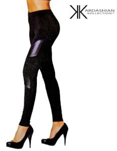 Kardashian Kollection Tights - Leather Look Insert