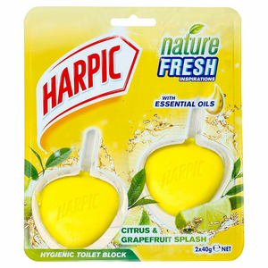 Harpic Nature Fresh Hygienic Toilet Block Citrus & Grapefruit Splash 2 Pack