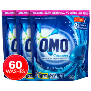 3 x 20pk OMO Laundry Capsules Front & Top Loader