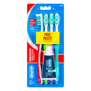 Oral-B All Rounder Fresh Clean Toothbrush Medium Plus 22g Toothpaste - 4 Pack