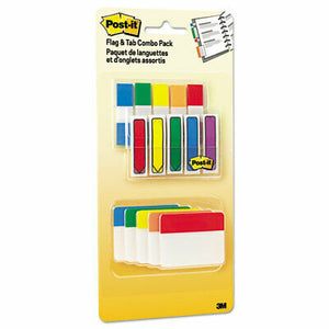 Post-it Flags And Tabs Combo Pack, Assorted Primary Colors