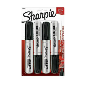4 x Sharpie Permanent Markers Black King Size 4 Pack Smooth Sales