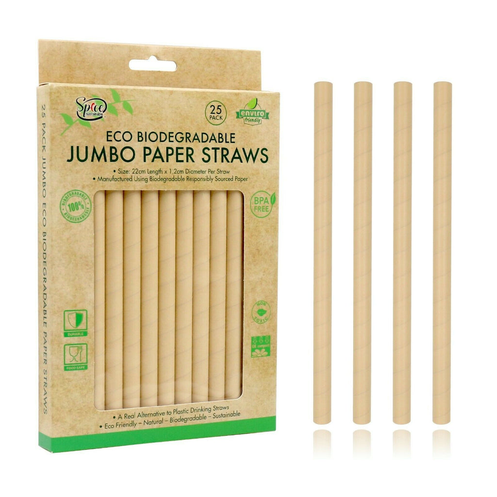 Eco Biodegradable Material JUMBO Drinking Straws - Brown Paper Straws 25PK