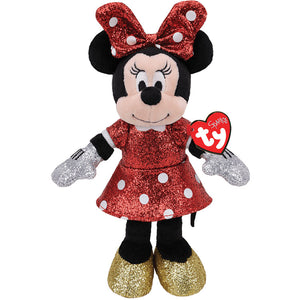 "Ty Beanie Babies Collection 8"" Disney Minnie Mouse Red Sparkle Plush Toy"