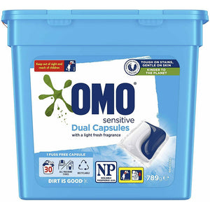 OMO Laundry Sensitive Dual Capsules 30 Pack - 789g