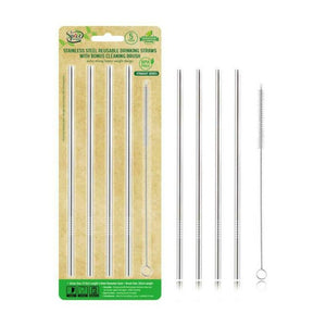 Stainless Steel Reusable Drinking Straws (4 Pack) with Bonus Cleaning Brush