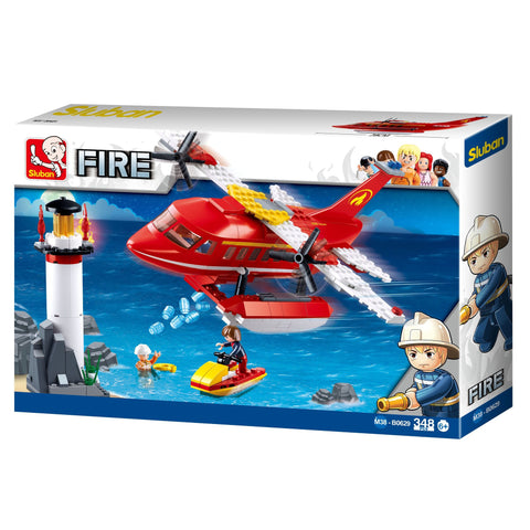 Sluban Building Block FIRE Firefighter Plane Scene