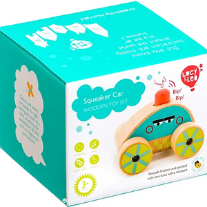 Lucy & Leo Squeaker Car Wooden Toy Set
