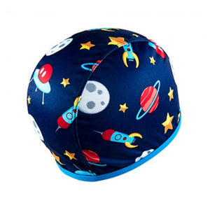 Floaties Boys' Swimcap - Blue Rocket Ship