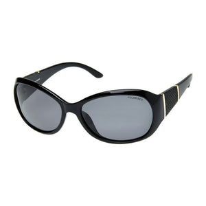 Cancer Council Leura Shiny Black Gold/Smoke Polarised Sunglasses