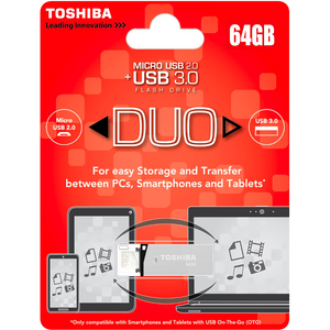Toshiba USB 3.0 Duo Flash Drive 64GB - Silver