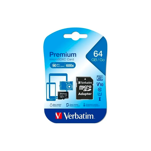 Verbatim Premium Flash Memory Card 64 GB microSDXC UHS-I Memory Card Black