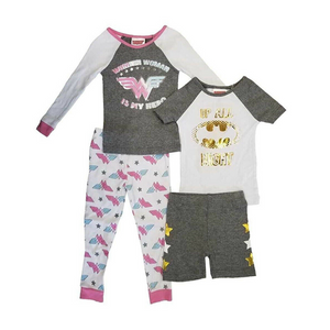 Justice League: Wonder Women Girl's 4-Piece Sleepwear Set