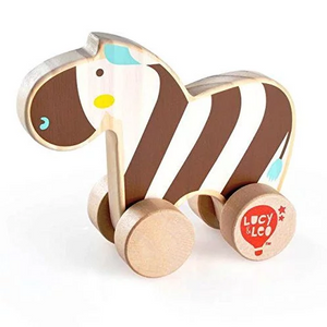 Lucy & Leo Rolling Zebra Wooden Toy Set