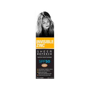 Invisible Zinc Sheer Defence Tinted Moisturiser Light SPF50 50g