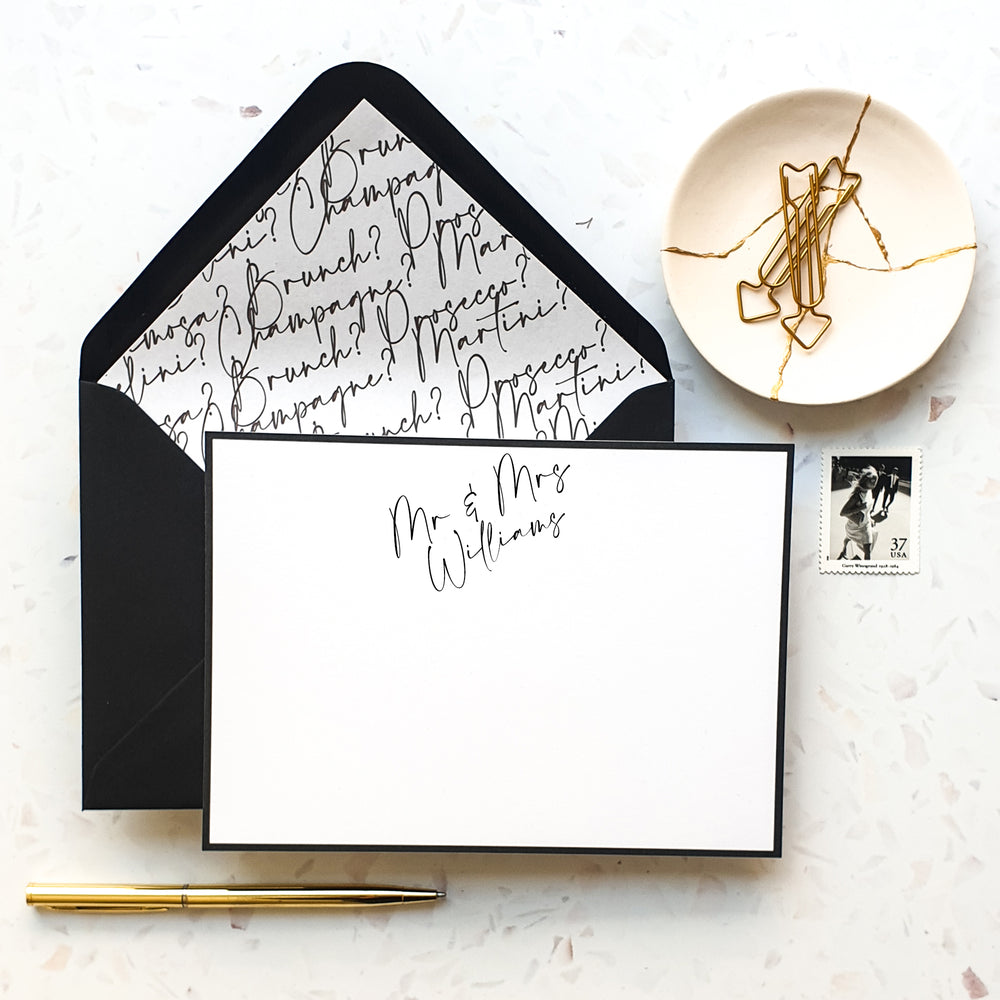 Mr & Mrs Calligraphy Notecard Set