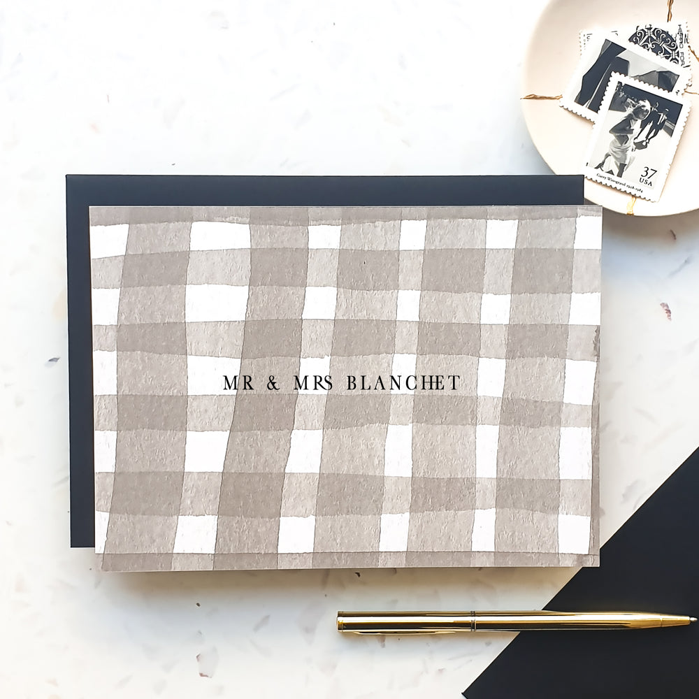 Personalised Check Mr & Mrs Notecard Set