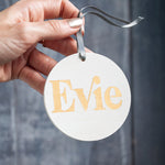 Gold and White Personalised Name Christmas ornament