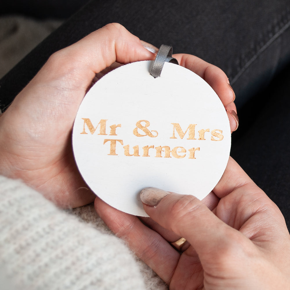 Gold and White Personalised Mr & Mrs First Christmas ornament