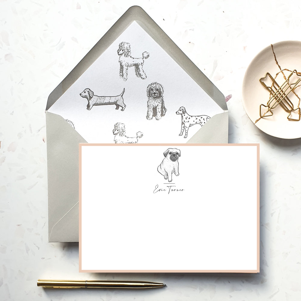 Personalised Pug Dog Notecard Set