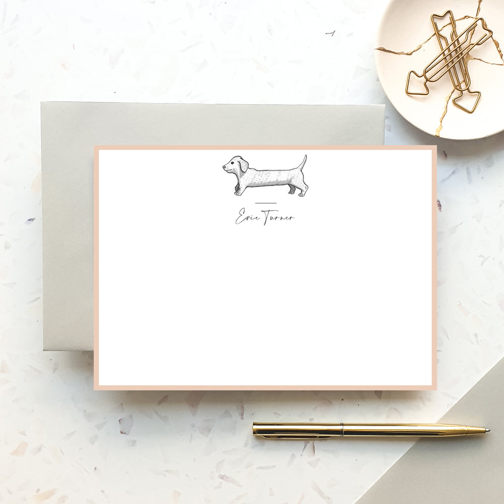 Personalised Sausage Dog Notecard Set