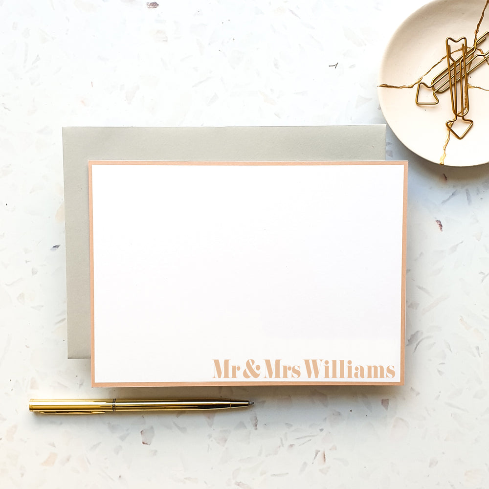 Personalised Mr & Mrs Pink Notecard Set